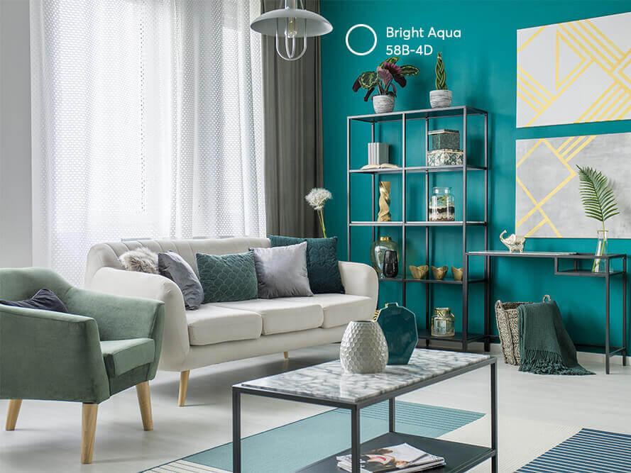 phòng khách sơn màu xanh lá độc đáo