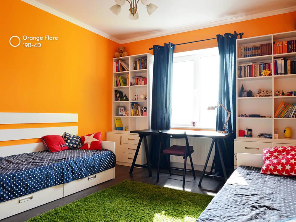 phòng trẻ em sơn màu cam