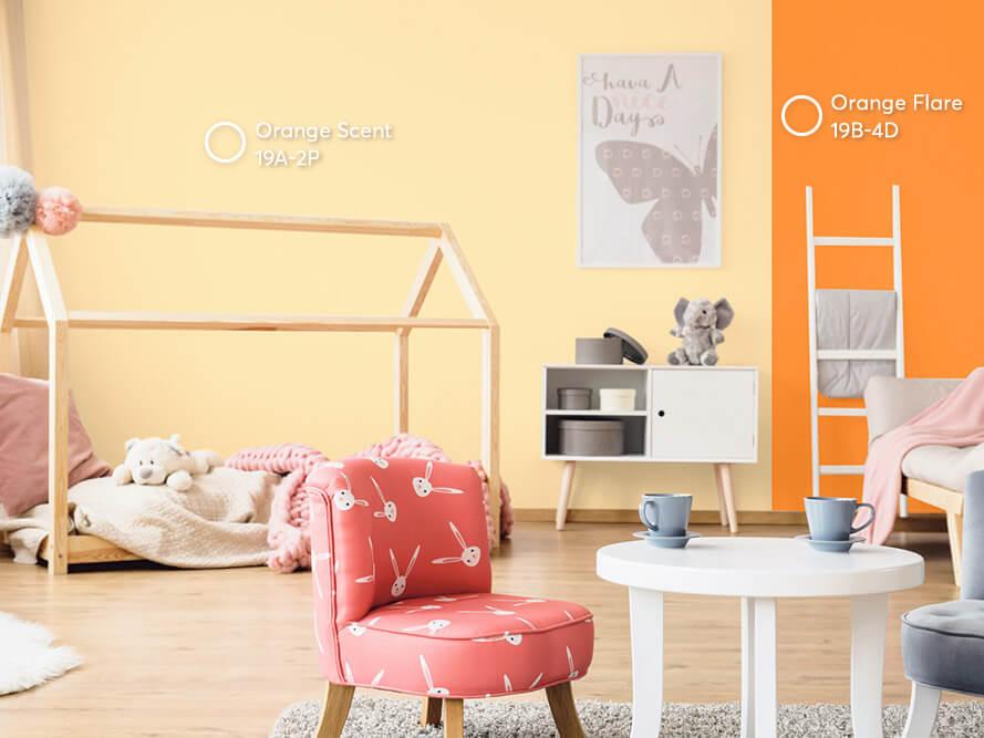 phòng trẻ em màu cam