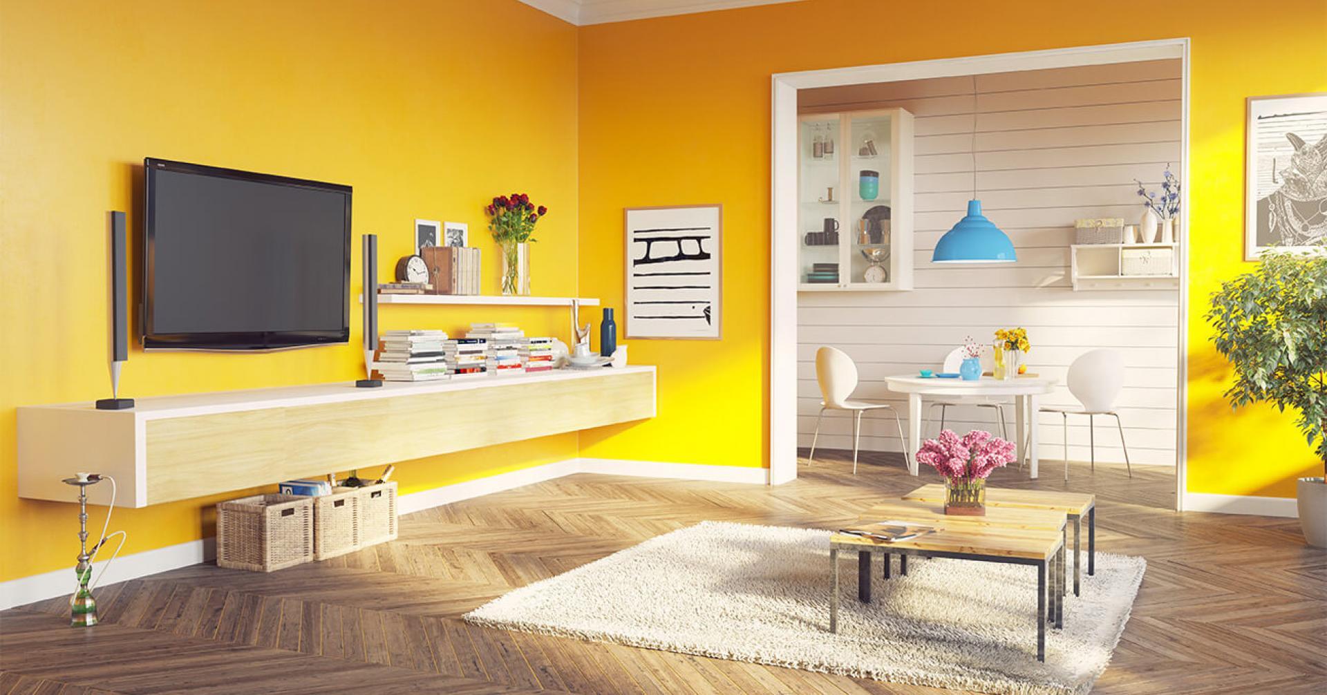 phòng khách phối màu sơn Nippon tone vàng