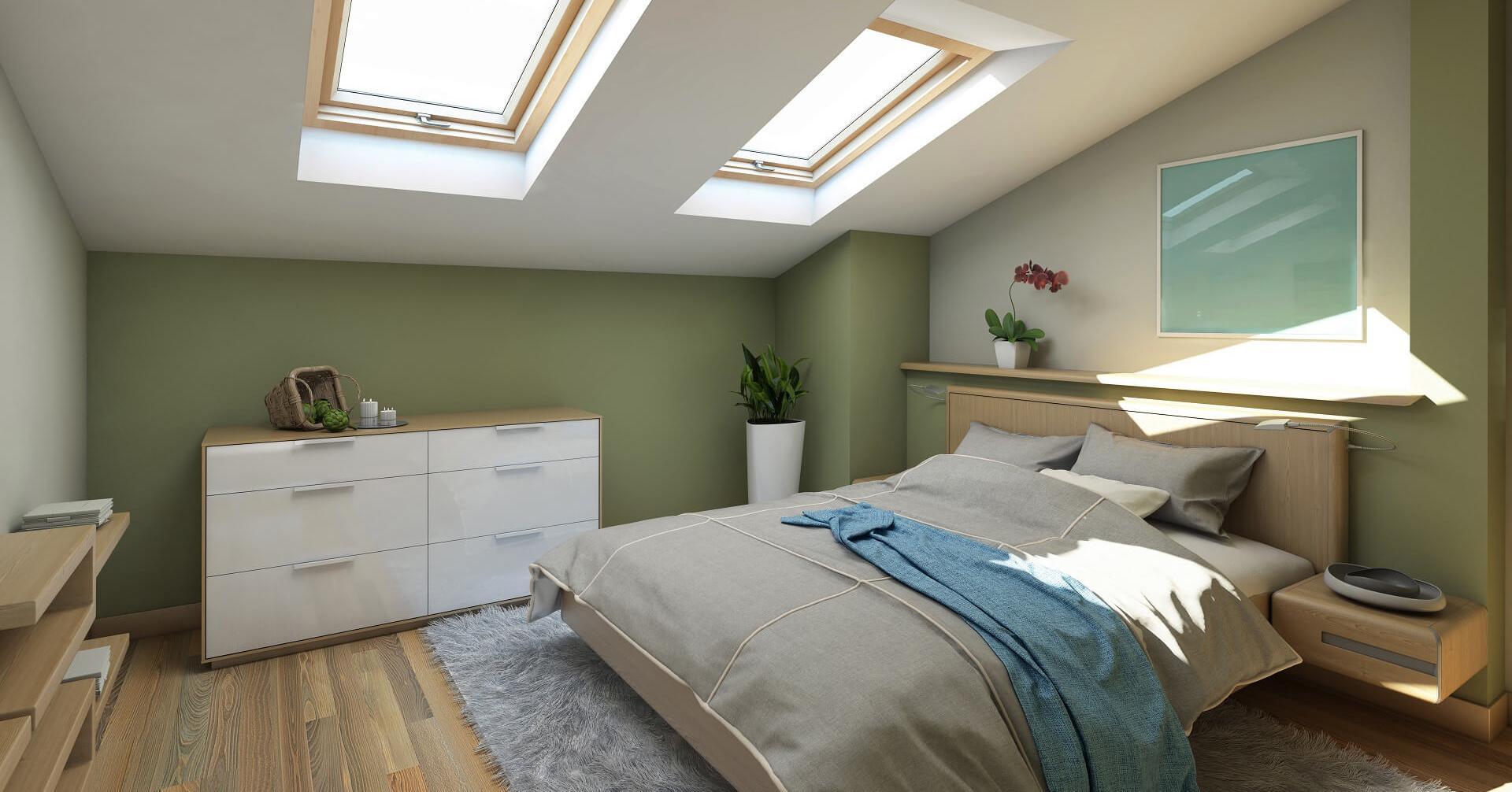 Phòng ngủ sơn màu xanh lá